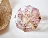 Diamond Paperweight, Paperweight, Tray Decor, Staging Art, Flowers in Resin, Diamond Shape, Abstract Art