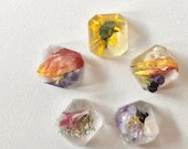 Floral Magnets, Jewel Shaped Magnets, Flower Magnets, Set of 5 Magnets, Terrarium Magnets, Magnet Set, Wildflowers, Pressed Flowers