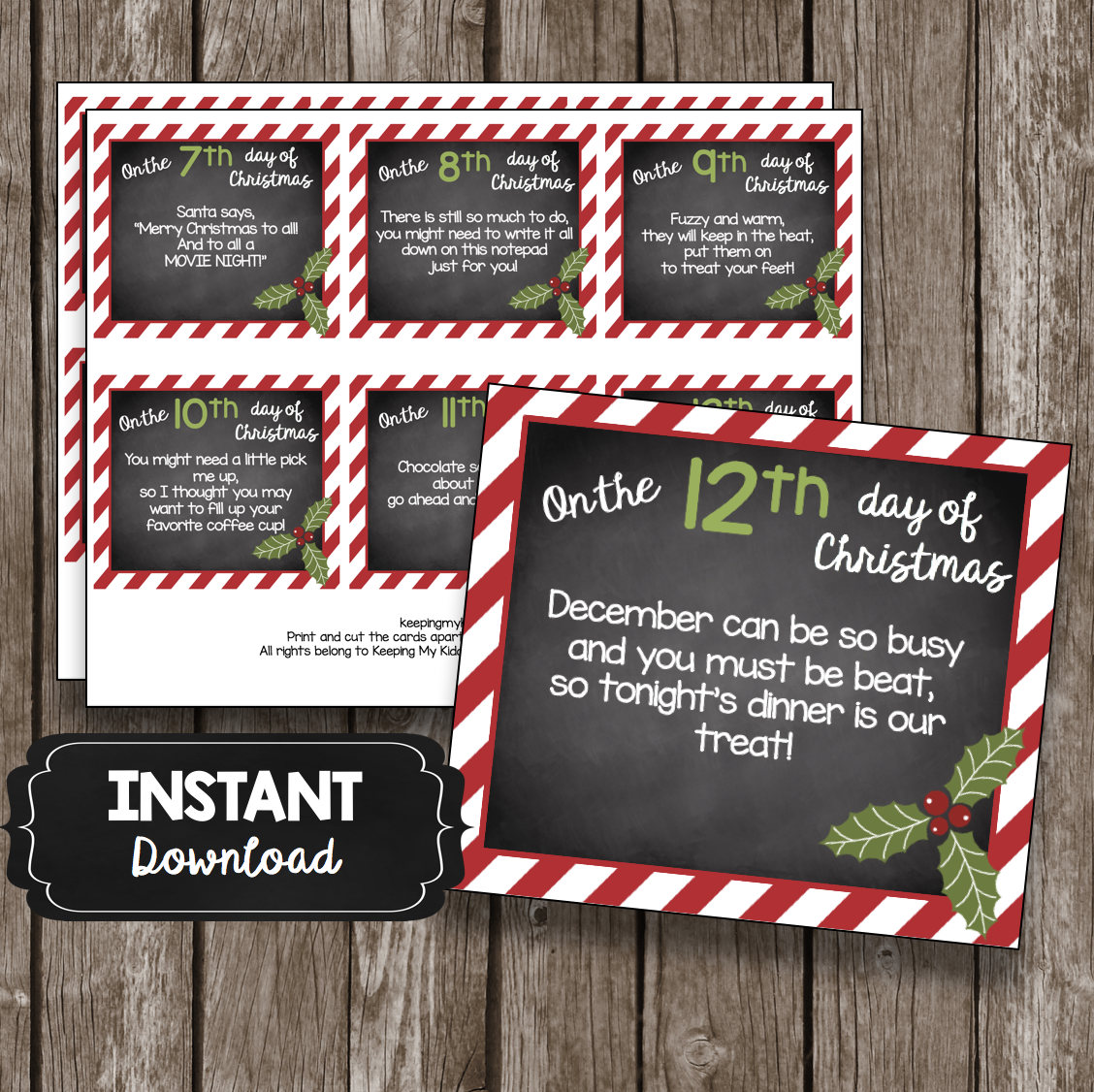 12 Days Of Christmas Teacher Cards Printable Diy T