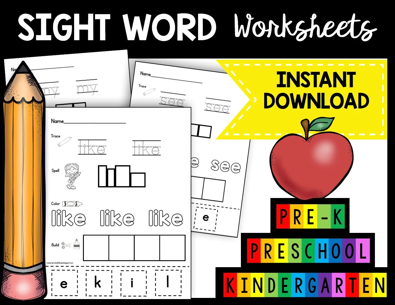 50 Off Sale Sight Word Worksheets Printable Kindergarten