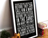 Blowin' In The Wind - Song Lyrics Typography Bob Dylan Tribute - PRINTED music Art bedroom office old style lounge kitchen home decor