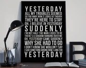 Yesterday - Song Lyrics Typography The Beatles Tribute - PRINTED music Art bedroom office old style lounge home decor