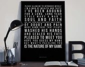 Sympathy For The Devil - Lyrics Typography Rolling Stones Tribute - PRINTED music Art bedroom office old style lounge kitchen home decor