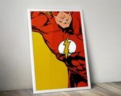 The Flash - PRINTED comic book style forBoys Geek man cave nerds bedroom office kids superhero dc comics