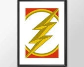 The Flash Logo - PRINTED comic book style for the Big Boys Geek man cave nerds bedroom office kids nursery superhero dc comics