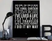 My Way - Song Lyrics Typography Frank Sinatra Tribute - PRINTED music Art bedroom office old style lounge home decor
