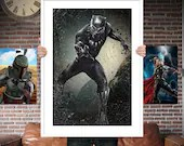 Black Panther PRINTED  for the Big Boys Geek man cave nerds bedroom office kids nursery superhero marvel comics avengers