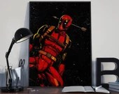 Deadpool 2018 v2 - PRINTED comic book style for the Big Boys Geek man cave nerds bedroom office kids nursery superhero marvel comics