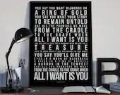 All I Want Is You - Song Lyrics Typography U2 Tribute - PRINTED music Art bedroom office lounge home decor