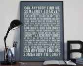 Somebody To Love -  Lyrics Typography Queen Tribute - PRINTED music Art bedroom office lounge home decor