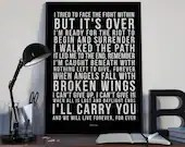 Angels Fall - Song Lyrics Typography Breaking Benjamin Tribute - PRINTED music Art bedroom office lounge home decor