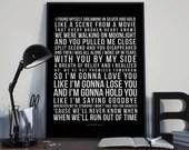 Like I'm Gonna Lose You - Song Lyrics Typography Meghan Trainor John Legend Tribute - PRINTED music Art bedroom office lounge home decor