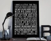 Nightmoves  - Song Lyrics Typography Bob Seger Metallica Tribute - PRINTED music Art bedroom office lounge home decor