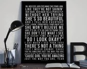 Just the Way You Are - Song Lyrics Typography - PRINTED music Art bedroom office lounge home decor
