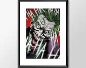 The Joker - PRINTED comic book style for the Big Boys Geek man cave nerds bedroom office kids superhero dc comics batman