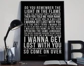 I Wanna Get Lost With You - Song Lyrics Typography Stereophonics Tribute - PRINTED music Art bedroom office lounge home decor