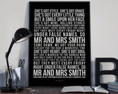 Mr and Mrs Smith - Song Lyrics Typography Stereophonics Tribute - PRINTED music Art bedroom office lounge home decor