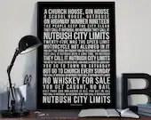 Nutbush City Limits - Song Lyrics Typography Tina Turner Tribute - PRINTED music Art bedroom office lounge home decor