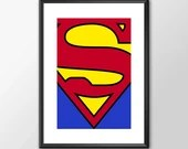 The Superman Logo - PRINTED comic book style for the Big Boys Geek man cave nerds bedroom office kids nursery superhero dc comics