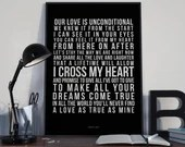 I Cross My Heart - Song Lyrics Typography George Strait Tribute - PRINTED music Art bedroom office lounge home decor
