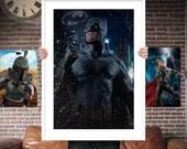 Batman PRINTED  for the Big Boys Geek man cave nerds bedroom office kids nursery superhero marvel comics avengers