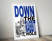 Down The Rabbit Hole - Traditional Alice In Wonderland Art - PRINTED Geek kids man cave nerds bedroom office nursery home decor lounge girls