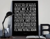 Give Me A Sign - Song Lyrics Typography Breaking Benjamin Tribute - PRINTED music Art bedroom office lounge home decor