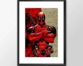 Deadpool - PRINTED comic book style for the Big Boys Geek man cave nerds bedroom office superhero marvel comics