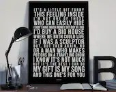 Your Song - Song Lyrics Typography Elton John Tribute - PRINTED music Art bedroom office lounge home decor