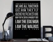 I Am The Walrus - Lyrics Typography The Beatles Tribute - PRINTED music Art bedroom office old style lounge kitchen home decor