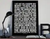 Bless The Broken Road - Song Lyrics Typography Rascal Flatts Tribute - PRINTED music Art bedroom office lounge home decor