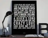 Crazy Love - Song Lyrics Typography Van Morrison Tribute - PRINTED music Art bedroom office lounge home decor