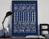 Hallelujah - Song Lyrics Typography Leonard Cohen Tribute - PRINTED music Art bedroom office lounge home decor