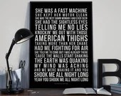 You Shook Me All Night Long - Song Lyrics Typography ACDC Tribute - PRINTED music Art bedroom office lounge home decor