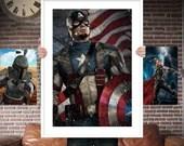 Captain America - PRINTED for the Big Boys Geek man cave nerds bedroom office kids nursery superhero marvel comics avengers