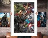 Avengers  PRINTED  for the Big Boys Geek man cave nerds bedroom office kids nursery superhero marvel comics avengers