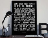 You'll Be In My Heart - Song Lyrics Typography Phil Collins Tribute - PRINTED music Art bedroom office lounge home decor