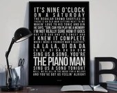 Piano Man - Song Lyrics Typography Billy Joel Tribute - PRINTED music Art bedroom office lounge home decor