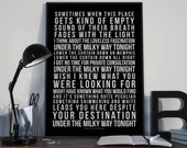 Under The Milky Way Tonight - Song Lyrics Typography The Church Tribute - PRINTED music Art bedroom office lounge home decor