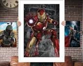 Iron Man Avenger PRINTED  for the Big Boys Geek man cave nerds bedroom office kids nursery superhero marvel comics avengers