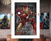 Iron Man Avenger PRINTED  for the Big Boys Geek man cave nerds bedroom office kids nursery superhero marvel comics avengers