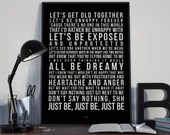 Just Me - Song Lyrics Typography Paloma Faith Tribute - PRINTED music Art bedroom office lounge home decor