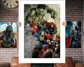 Avengers Group - PRINTED for the Big Boys Geek man cave nerds bedroom office kids superhero marvel comics