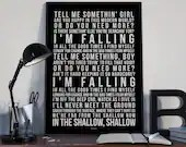 Shallow - Song Lyrics Typography Lady Gaga A Star Is Born Tribute - PRINTED music Art bedroom office lounge home decor