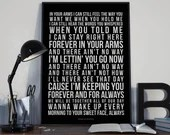 Forever and Always - Lyrics Typography Shania Twain Tribute - PRINTED music Art bedroom office old style lounge kitchen home decor