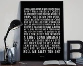 Roll Me Away  - Song Lyrics Typography Bob Seger Tribute - PRINTED music Art bedroom office lounge home decor