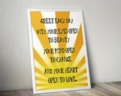 Greet Each Day  - Kitchen Wall Art for Friends  old style lounge kitchen home decor girl