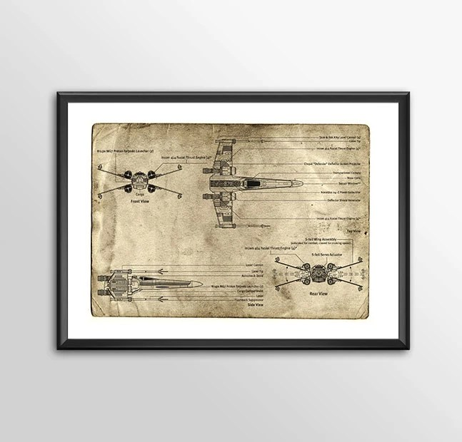 X wing Blue Prints -  3 to choose from - Star wars - PRINTED for the Big Boys and girls Geek man woman cave nerds bedroom office kids