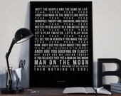 Man On The Moon - Song Lyrics Typography REM Tribute - PRINTED music Art bedroom office lounge home decor