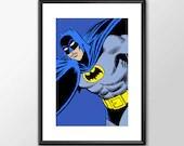 The Batman  - PRINTED comic book style for the Big Boys Geek man cave nerds bedroom office kids superhero dc comics batman